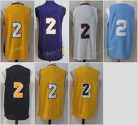 Wholesale Mesh Basketball Shorts - New 2017-18 mens Lonzo Ball #2 jersey Rev 30 Men Ball jersey Throwback Mesh yellow white purple black blue Jerseys stitched Embroidery Logos