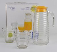 Wholesale New Glass Cup Set - New Arrive Glass water bottle wave style 1 kettle +2 cups 3 pcs set Juice Drinkware