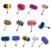 Wholesale Vibrate Tongue - Free Shipping 2015 New Arrival Multi Color Silicone Stainless Steel Vibrating Tongue Bar Ring Stud Jewelry Body Piercing 13Style