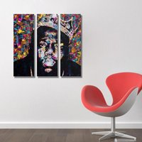 Wholesale Portraits Paintings - Unframed Spray Printed Oil Painting Abstract Black Portrait Wall Decor Art On Canvas