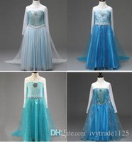Wholesale Anna Cosplay - New Frozen Princess Dress Elsa Anna Girl's Costume dresses Party cosplay Dress 110-1500cm