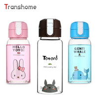 Wholesale Glass Bottles For Lid - Wholesale- Transhome Cute Cartoon Water Bottle Creative Totoro Glass Drinking Bottle With Lid Transparent Portable Cap For Students