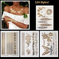Wholesale Hand Foot Cuffs - 8pcs gold silver metallic tattoos necklace bracelet flash jewelry tattoos Sparkle shine temporary tattoos chic chains cuff bands 126 designs