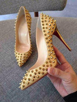 Wholesale Ankle Strap Spiked High Heels - 2017 Hot Sales Brand Glitter Red Bottom Spiked High Heels Women Luxury Red Sole Shoes Sequins heels Party Wedding Shoes Pointed Toe Pumps