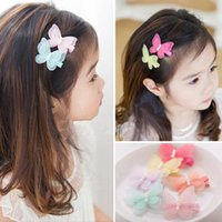 Wholesale Kid Butterfly Barrettes - New Fashion Cute Simulated Yarn Butterfly Baby Pearl Hairpins Hair Clips Kids Girls Children Barrettes Hair Accessories