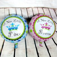 Wholesale Baby Shower Girl Balloons - 10pcs lot 18inch baby shower round balloon baby princess foil balloons boy baby girl air balloon birthday party supplies