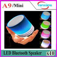 Wholesale Mini Boombox Bluetooth - 10pcs Mini A9 LED light Bluetooth Speaker Mini Blutooth Boombox Wireless Portable Receiver Audio Radio FM Som Soundbar YX-A9-03