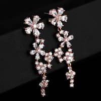 Wholesale chandelier earring cz online - beijia Fashion Rose Gold Drop Earrings Women Jewelry Flower CZ Bridal Earrings Wedding Accessories