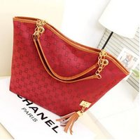 Wholesale Cheap Price Handbags Wholesale - Factory Price Red Canvas Chain Fashion Shoulder bags fringed decoration single shoulder chain bag With PU High Quality Handbags cheap
