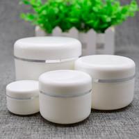gesichtscreme proben großhandel-PP Weiß Silber Rand Plastikdose für Kosmetik Make-up Cremetopf Probenbehälter Flaschentopf für Probe 250g 100g 50g