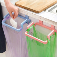 Wholesale Plastic Cupboards - Home Cupboard Door Rack 4 Colors Plastic Kitchen Garbage Bags Holder Storage Shelf For Kitchen Organizer