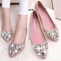 Wholesale Green Summer Ladies Dress - Stylish Ladies Crystal Shoes Flat Shoes Rhinestone Pointed Toe Slip On Flat Summer Fall Solid Fashion Women Ballet Flats Shoes 1BZ
