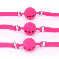 Wholesale Pink Bdsm Restraints - Open Mouth Gag Silicone Ball Gag Sex Toys Bondage Restraints Ring Gag Adult Game Toys Oral Fixation Stuffed Slave BDSM for Couples