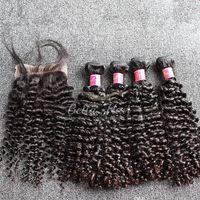 insan saç uzantısı 5adet toptan satış-SıCAK Satış Hint Kıvırcık Saç Paketler Kapatma ile Doğal Renk İnsan Saç Dokuma 5 ADET / GRUP Saç Uzantıları Ücretsiz Kargo
