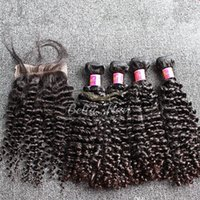 venda de extensões de cabelos indianos venda por atacado-Venda QUENTE Indiano Feixes de Cabelo Encaracolado com Fecho Cor Natural Tecer Cabelo Humano 5 PÇS / LOTE Extensões de Cabelo Frete Grátis