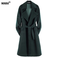 Wholesale trench down - Wholesale-New Winter Women Long Wool Coat Loose 2016 New Fashion Plus Size Turn-down Collar Woolen trench coat Outerwear manteau femme