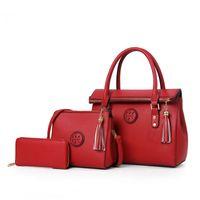 sıcak bayan çantaları toptan satış-Sıcak Lady El çantası Yeni Lüks PU Deri Püskül Çanta 3 Adet Kompozit Çanta Seti Lady Omuz Crossbody Kadın Çantası Kadın Cüzdan Debriyaj