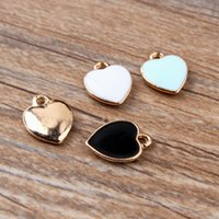 Wholesale 100pcs diy jewelry bead K gold enamel accessories pendant small alloy heart hollow charms