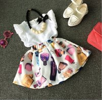 Wholesale Perfume Brand Top - 2016 Summer Clothing 2pcs Set Girls Chiffon Sleeveless Tops + Perfume Bottle Skirt Outfits Kids Clothes Grid Outwear Skirt Suit K7102
