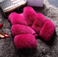 kürk tilki kızı toptan satış-Sıcak 12 Şeker renk muhteşem Kız Faux Fox Kürk Yelek kısa Coat V boyun jile patchwork PU Kolsuz dış giyim palto Artı boyutu S ~ 3XL