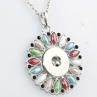Wholesale 18mm Gemstone Beads - Snap Button Jewelry Newest gemstone Pendant Necklace Oem ,Odm (Fit 18mm Snaps )Millet Bead Ne216