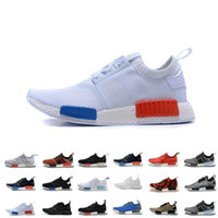 Wholesale Cheap Plus Size Flat Shoes - Wholesale Cheap 2017 NMD Runner Primeknit Men's Sports Running Shoes 2016 all black all white flyknit athletic shoes plus size 40-46