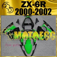 Cinco presentes Motoegg Injection Mold Plastic Fairings Best Sell for Kawasaki Ninja ZX-6R 2000-2002 ZX 6R 00-02 ZX6R Verde preto K60M01
