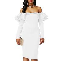 Wholesale formal elegant dresses for ladies - Winter Fashion Dresses For Women Bodycon Dress Elegant Ruffle White Long Sleeve Slim Party Clothes Ladies Off Sholder Formal Vesti