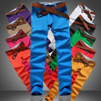 Wholesale Mens Colorful Pants - Mens England Designer Style biker jeans Fashion Cotton casual khaki pants men Pure Color Colorful jeans for men10 Colors