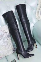 ingrosso stivali ad alto plaid al ginocchio-saldi! consegna gratuita! u757 40 5 colori vera pelle tratto a punta della coscia alti stivali sopra il ginocchio blu sexy rosso grigio nero
