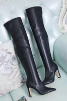Wholesale women leather thigh high boots - sale! free ship! u757 40 5 colors genuine leather stretch pointy thigh high boots over the knees sexy blue red black grey