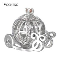 Wholesale Oval Stone Beads - Pumpkin Carriage Beads Charms Filled CZ Stone Brass Material Platinum Plated Vn-1655