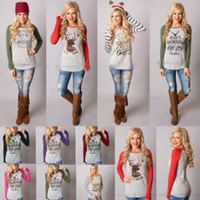 ingrosso camicia di elk-T-Shirt natalizia Camicie da donna in alce di Natale Top da Babbo Natale Camicetta a maniche lunghe Camicia allentata T-shirt casual Stampa Blusas 16 stili 100 pezzi OOA3036