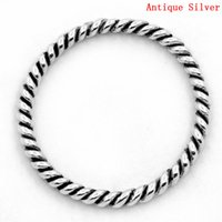 "Wholesale Silver Close Jump Rings - Zinc metal alloy Closed Soldered Jump Rings Round Antique Silver Stripe Pattern 18.0mm( 6 8"") Dia, 25 PCs 2015 new"