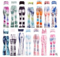 Wholesale Holiday Patterns - Pant +top= 1 set! Fashion Tie-dyed Pants set women bohemian beach summer holiday seaside bandage pants with crop top vest suits 18 colors