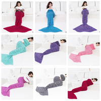 Wholesale Korean Fish Bag - 180*90CM Mermaid Blankets Knitted Adult Mermaid Tail Blanket Fish Sleeping Bags Crochet Cocoon Mattress Mermaid Christmas Blanket KKA2767
