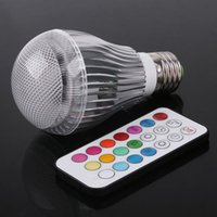 Wholesale Two Color Changing Led Bulbs - E27 RGB LED Lamp Stage 9W LED RGB Bulb Light Lamp 100-240V Remote Control More than two million Color Change Lampada LED Luz