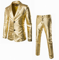 Wholesale Wholesale Singer Stage Wear - Cool Men Stage Wear Flashing Gold Silver Black Suit Set Wedding Party Singer Wearing Shining Stage Suits Pants