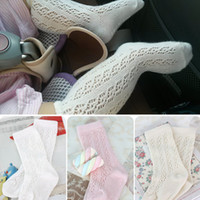 Wholesale Girl Knee Socks White - 2016 New Cute Baby Summer Girls Socks Knee High Babies Sock Toddler Hollow Children Cotton Stockings White Beige Pink A5253