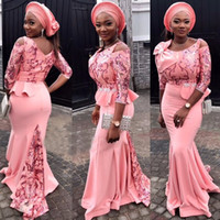 Wholesale Peach Pear - Peach Pink Aso Ebi Evening Dresses Scoop Neckline 3 4 Long Sleeves Prom Gowns With Applique And Bow Peplum Custom Made Formal Dresses