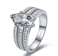 Wholesale white gold marquise settings for sale - Group buy Genuine Marquise Shape CT Guarantee Sterling Silver White Gold Color Engagement Synthetic Diamonds Ring Women Jewelry