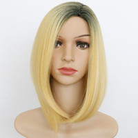 Fashion Short Mix blonde Cheveux droles Lady's Synthetic Hair Cosplay Wigs + free wig cap Colors Mix Short Straight Layered Synthetic Hair Wigs