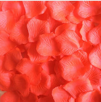 Wholesale Purple Flower Confetti - 1000pcs Coral Silk Rose Petals Artificial Flower Petals Coral Wedding Party Aisle Decor Wedding Confetti Birthday Baby Shower