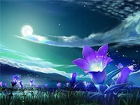 Wholesale lily canvas paintings - New diy diamond painting cross stitch kits resin pasted painting full square drill needlework Mosaic Home Decor landscape lily field zxh0145