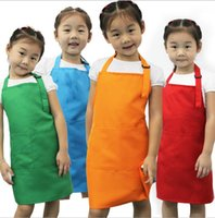 Wholesale Painting Bibs - Kids Aprons Pocket Craft Cooking Baking Art Painting Kids Kitchen Dining Bib Children Aprons Kids Aprons 10 colors