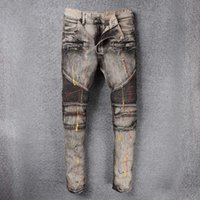 Wholesale Stretched Oil Paintings - New Robin Jeans Men's Embellished Ribbed Oil Painted Stretch Moto Pants Washed Gray Biker Jeans Slim Trousers For Men Plus Size 29-42 Robins