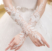 Wholesale Bridal Lace Beads - Hot Sale Fingerless Long Bridal Gloves Wedding Wear Beads Luxury Lace Flower Glove Hollow Wedding Accessories Ivory Bridal Gloves