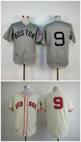 Wholesale High Ted - Ted Willams Jersey Cheap Boston Red Sox #9 Ted Willams Cream Grey Throwback Baseball Jersey High Quality Stitched Jerseys Embroidery Logo
