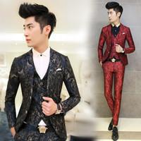 Wholesale Korean Wedding Suits For Men - Wholesale- 2017 Fashion Men Suit Floral Printed Men's Suits 3 PCS   Set Korean Terno Slim Fit Wedding Prom Blazer Stage Clothing for Men