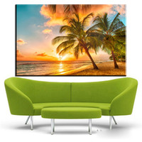 Wholesale trees life oil painting - ZZ1929 modern decorative canvas art coconut tree sunrise beach landscape canvas pictures oil art painting for livingroom bedroom